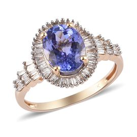 1.95 Ct Tanzanite and Natural Diamond Halo Ring in 9K Yellow Gold
