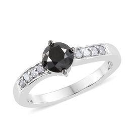 Black Diamond (Rnd), White Diamond Ring in Platinum Overlay Sterling Silver Ring 0.750 Ct.