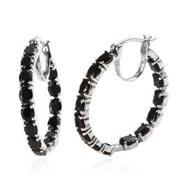 Elite Shungite (Ovl) Inside-out Hoop Earrings (with Clasp) in Platinum Overlay Sterling Silver 6.25