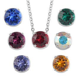 J Francis - Crystal from Swarovski Multi Colour Crystal Necklace (Size 18) in Stainless Steel