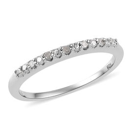 Diamond Half Eternity Ring in Platinum Overlay Sterling Silver