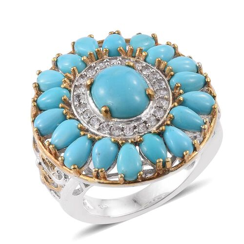 5.75 Ct Sleeping Beauty Turquoise and Zircon Cluster Ring in Platinum and Gold Plated Silver