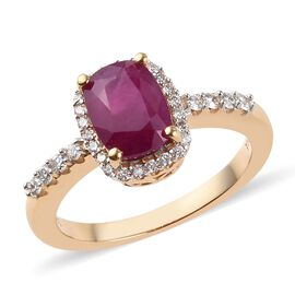 ILIANA 2.25 Ct AAA Burmese Ruby and Diamond Halo Ring in18K Gold SI GH