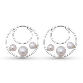 White Freshwater Pearl  Earrings (with Push Back) in  Sterling Silver