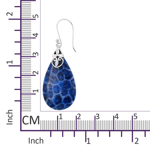 Royal Bali Collection - Blue Sponge Coral Drop Hook Earrings in Sterling Silver