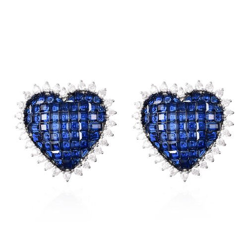 Lustro Stella - Mystery Setting Simulated Blue Sapphire and Simulated Diamond Heart Earrings (with C