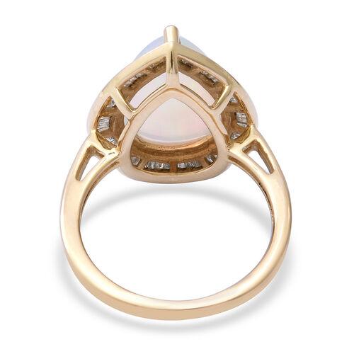 9K Yellow Gold AAA Ethiopian Welo Opal and Diamond Ring 3.66 Ct.