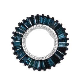 9K W Gold Blue Diamond (Bgt) Circle of Life Pendant 1.00 Ct.