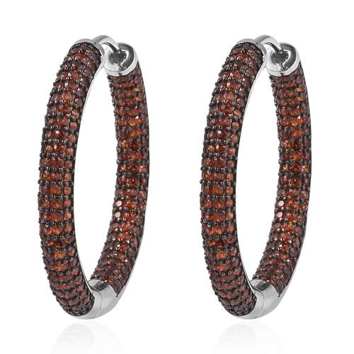 Mozambique Garnet (Rnd) Hoop Earrings in Two Tone Plating Sterling Silver 7.500 Ct, Silver wt 9.7 Gm
