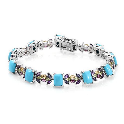 Arizona Sleeping Beauty Turquoise (Bgt), Rhodolite Garnet, Hebei Peridot and Multi Gemstone Bracelet (Size 7.5) in Platinum Overlay Sterling Silver 18.500 Ct. Silver wt 19.10 Gms.