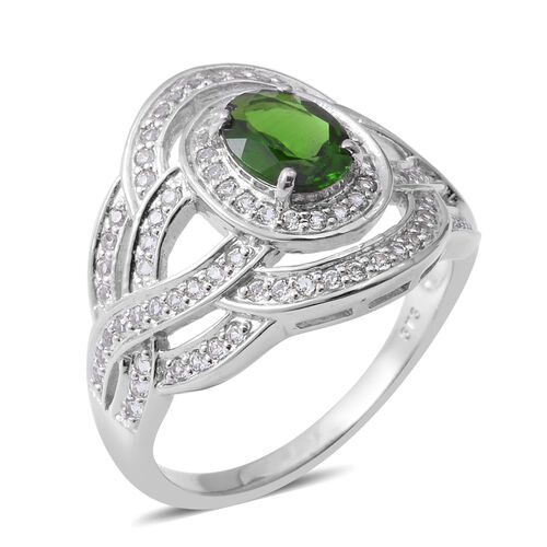 Designer Inspired- Russian Diopside (Ovl 1.240 Ct), White Topaz Ring in Rhodium Overlay Sterling Sil