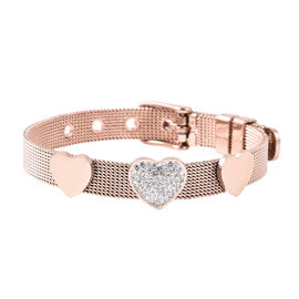 White Austrian Crystal Mesh Chain Heart Bracelet in Rose Gold Plated Stainless Steel 6 to 7 Inch