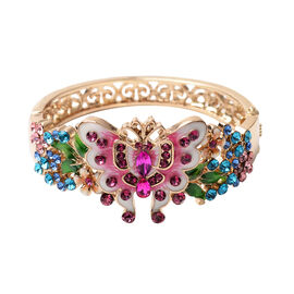 Multi Colour Crystal and Simulated Kunzite Enamelled Bangle (Size 7) in Gold Tone
