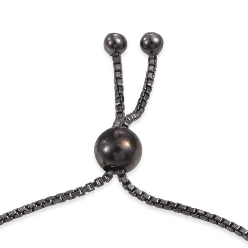 Vicenza Collection Black Rhodium Plated Sterling Silver Adjustable Beads Bracelet (Size 6.5 to 8.5), Silver wt. 5.74 Gms.