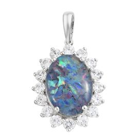 Limited Edition- Rare Size Australian Boulder Opal (Ovl 16x12 mm), Natural Cambodian Zircon Pendant in Platinum Overlay Sterling Silver