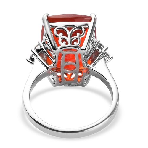RHAPSODY 950 Platinum AAAA Jalisco Fire Opal and Diamond Ring 7.65 Ct, Platinum wt. 6.00 Gms