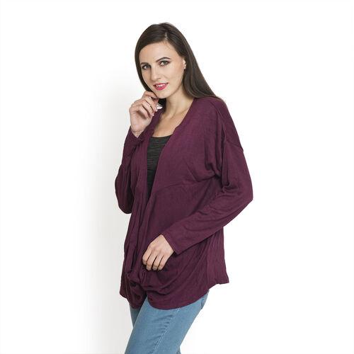 Burgundy Colour Long Neck Pattern Cardigan (Size Medium / Large)