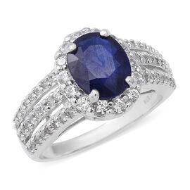 Masoala Sapphire (Ovl 10x8 mm), Natural White Cambodian Zircon Ring in Rhodium Overlay Sterling Silv