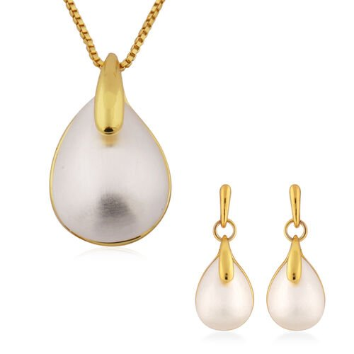Designer Inspired- 2 Piece Set Simulated Pearl Earrings (with Push Back) and Necklace (Size 20 with