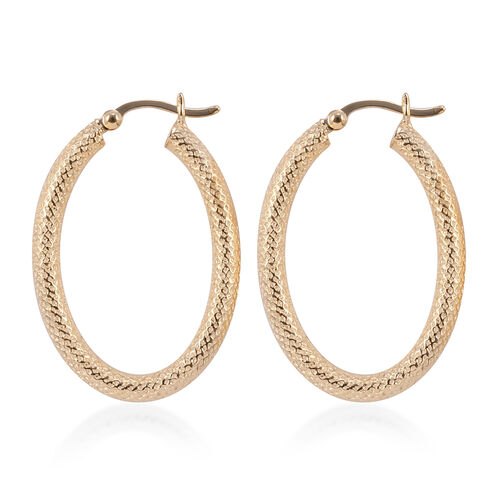 Mega Close Out Deal- 9K Yellow Gold Diamond Cut Hoop Earrings (with Clasp). Gold Wt 3.00 Gms