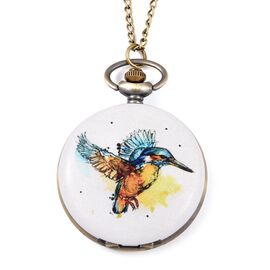 STRADA Japanese Movement White Dial Water Resistant Hummingbird Pattern Pocket Watch with Chain