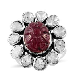Artisan Crafted African Ruby and Polki Diamond Floral Ring in Sterling Silver 7.50 Ct.