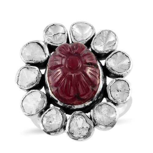 Limited Available- Artisan Crafted African Ruby and Polki Diamond Floral Ring in Sterling Silver 7.5
