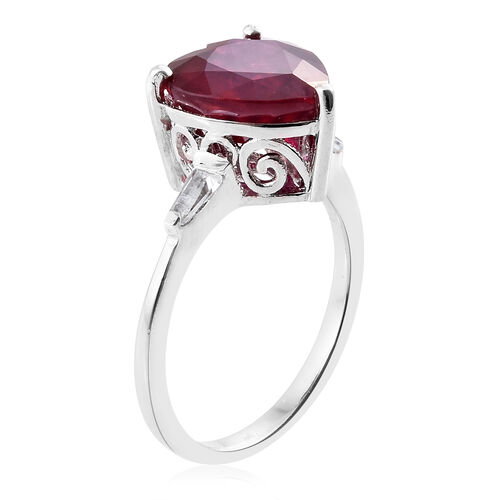 African Ruby (Hrt), White Topaz Ring in Platinum Overlay Sterling Silver 8.500 Ct.