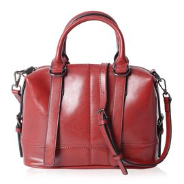 100% Genuine Leather Burgundy Colour Tote Bag with External Zipper Pocket and Removable Shoulder Str