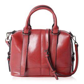 100% Genuine Leather Burgundy Colour Tote Bag with External Zipper Pocket and Removable Shoulder Str