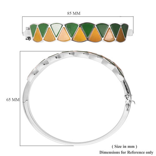 Isabella Liu Dance of Ginkgo - Green Jade and Yellow Jade Bangle (Size 7.5) in Rhodium Overlay Sterling Silver 24.93 Ct, Silver wt. 36.89 Gms