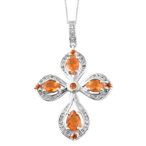 Limited Edition- Jalisco Fire Opal (Pear), Natural Cambodian Zircon Pendant With Chain in Platinum Overlay Sterling Silver 1.750  Ct.