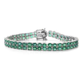 AAA Kagem Zambian Emerald (Ovl) Bracelet (Size 8) in Rhodium Plated Sterling Silver 12.900 Ct. Silver wt 12.20 Gms. Number of Gemstone- 86