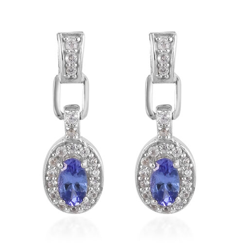 Tanzanite and Natural Cambodian Zircon Earrings (with Push Back) in Platinum Overlay Sterling Silver