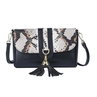 Sencillez Genuine Leather Snake Print Convertible Bag (Size 25x6x16 Cm) - Black & White