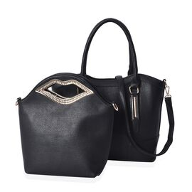 Set of 2 - Black Colour Tote Bag with Detachable Shoulder Strap and Zipper Closure