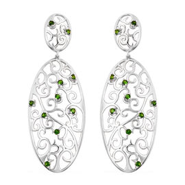 LucyQ Victorian Era Collcetion - Russian Diopside Filigree Earrings (with Push Back) in Rhodium Over