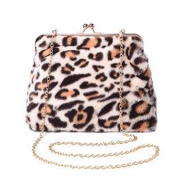 Beige Leopard Pattern Faux Fur Clutch Closure Crossbody Bag (Size: 23x10x18cm) with Chain Shoulder S