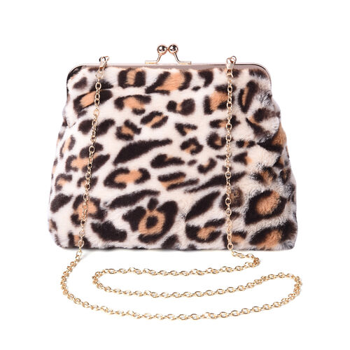 Beige Leopard Pattern Faux Fur Clutch Closure Crossbody Bag (Size: 23x10x18cm) with Chain Shoulder S