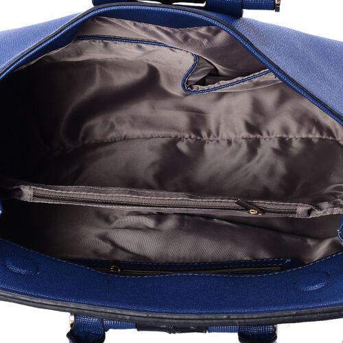 Blue Colour Tote Bag with Adjustable Shoulder Strap (Size 35x24x10 Cm)