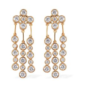 J Francis - 14K Gold Overlay Sterling Silver Chandelier Earrings Made with SWAROVSKI ZIRCONIA 11.68