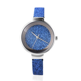 STRADA Japanese Movement Water Resistant Watch with Blue Stardust Dial and Strap