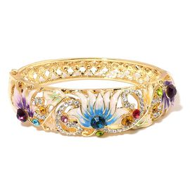 Multicolour Austrian Crystal (Rnd) Lotus Flower Enamelled Bangle (Size 7) in Yellow Gold Tone