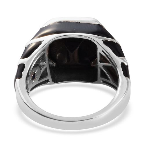 GP Elite Shungite and Blue Sapphire Enamelled Ring in Platinum Overlay Sterling Silver 3.52 Ct, Silver wt 6.60 Gms