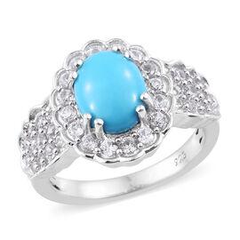 AA Arizona Sleeping Beauty Turquoise (Ovl 9x7 mm), Natural Cambodian Zircon Ring in Platinum Overlay