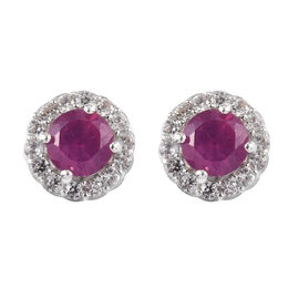 African Ruby  and Natural Cambodian Zircon Halo Earrings (with Push Back) in Platinum Overlay Sterli