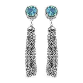 4 Carat Peacock Quartz Drop Earrings in Platinum Plated Sterling Silver