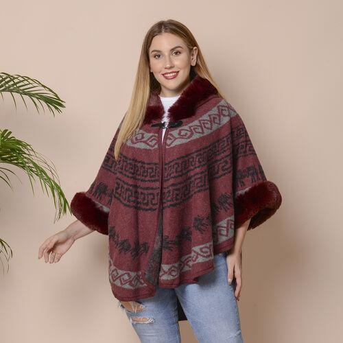 Wine Colour Half Round Shape Blanket Wrap with Faux Fur Collar (Size 109.22 x 80.01cm)