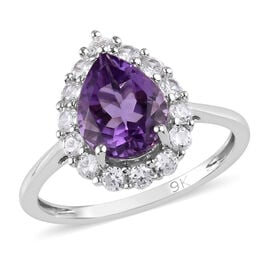 9K White Gold AAAA Amethyst and Natural Cambodian Zircon Ring 1.50 Ct.