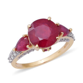Collectors Edition  - 9K Yellow Gold AA African Ruby (Rnd 9 mm 4.00 Cts), Natural White Cambodian Zi